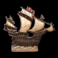 BIG Antique Cast Iron Ship Sail Boat Doorstop Door Stop ORIG Paint Galleon Lamp Pirate