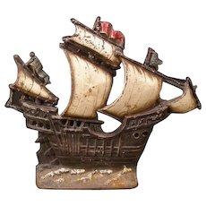 BIG Antique Cast Iron Ship Sail Boat Doorstop Door Stop ORIG Paint Galleon Lamp