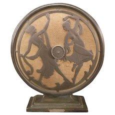 1925 Art Deco Stewart Warner Wood Radio Bronze Figural Nude Girl Dancer Speaker