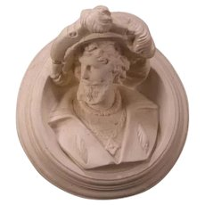 BIG 19th c Chalkware Renaissance Man Plaster Bust Portrait Wall Plaque Sculpture