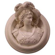 LG Antique Victorian Woman Chalkware Plaster Bust Portrait Wall Plaque Sculpture