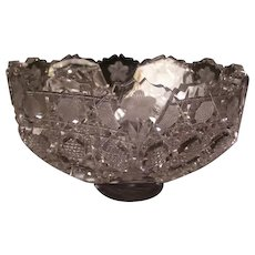 1800s ABP Intaglio Cut Octagon Crystal Center Piece Fruit Bowl Dish Bride Basket