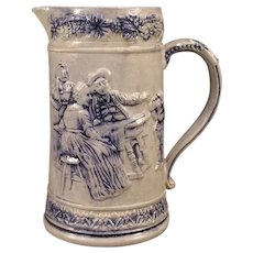 19c Salt Glaze Blue Decorated Stoneware Relief Portrait Crock Tankard Pitcher