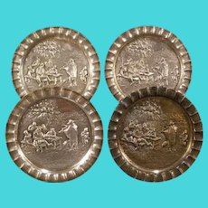 Set of 4 Vintage Silver Embossed Relief Portrait Plaque Wine Coaster Girl Whale