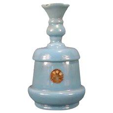 1800's Victorian Portieux French Blue Opaline Powder Jar Box Vase Jewelry Vanity