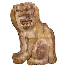 1940's Hand Carved Marble Lion Figure African Safari Animal Statue Stone Sculpture