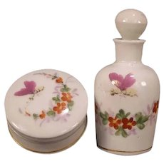 Set 1800's French Old Paris Porcelain Butterfly Perfume Bottle & Powder Jar Box Hand Painted