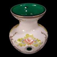 Vintage Bohemian Czech Cut Gilt Hand Painted Emerald Green Cased Glass Flower Vase