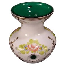 Vintage Bohemian Czech Cut Gilt Hand Painted Emerald Green Cased Glass Flower Vase
