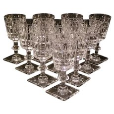 SET of 10 Hawkes 20's Claret VERNAY Cut Glass Stem Wine Goblet Champagne Chalice