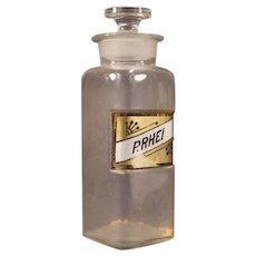 1800's General Store Label Under Glass Pharmacy Medical H.B Apothecary Jar Bottle