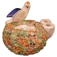 1800's German Pottery Bird Nest Egg Figure Statue Elfinware Staffordshire Bocage
