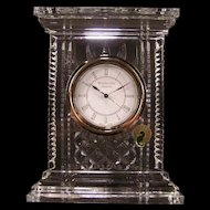 Vintage Waterford Crystal Atrium Mantle Shelf Clock All ORIG w/Lable Cut Glass