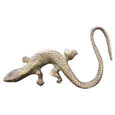 Vintage Brass Gecko Iguana Lizard Salamander Figure Statue Sculpture Paperweight