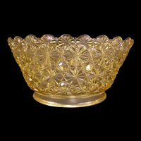 Rare Victorian EAPG Glass DAISY BUTTON Topas Yellow Kerosene Gas Lamp Shade 19 c