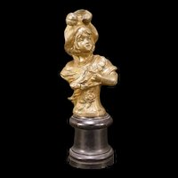 Antique Art Nouveau Girl Bronze Spelter Statue Bust Pedestal Sculpture Figure
