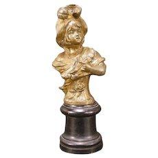 Antique Art Nouveau Girl Bronze Spelter Statue Bust Pedestal Sculpture Figure