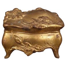 Antique Art Nouveau Bronze Patch Jewelry Trinket Dresser Vanity Casket Ring Box Jar Daisy