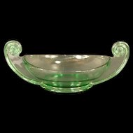 BIG 1930's Art Deco Fostoria Scroll Green Depression Glass Center Piece Bowl Dish Florescent
