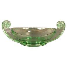 BIG 1930's Art Deco Fostoria Scroll Green Depression Glass Center Piece Bowl Dish Florescent
