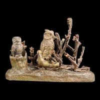 1800's Austrian Cadet Rousselle Cold Painted Bronze Artist Signed Bird Owl Figure Figurine