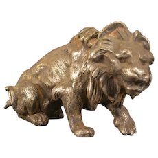 Lg Antique Bronze Lion King African Jungle Cat Figure Statue Clock Top Sculpture