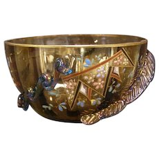 Antique Moser Bohemian Czech Hand Paint Enamel Applied Rigaree Candy Finger Bowl