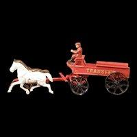 "20"" Antique 1800s Cast Iron Horse Drawn Transfer Wagon Fire Engine Farm Cart Toy"