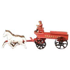 "20"" Antique 1800s Cast Iron Horse Drawn Transfer Wagon Fire Engine Farm Cart Toy"