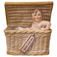 19 c German Porcelain Bisque Heubach Piano Baby Basket Figure Statue Sculpture~