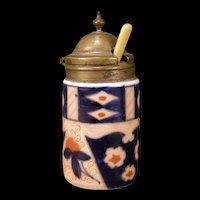 19 c Gaudy Dutch Dresden Meissen Mustard Castor Bottle Jar Imari Jam Jelly Dish