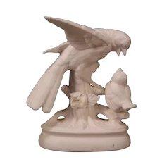 Antique Parian German Porcelain Bisque Relief Mold Figure Statue Sculpture Birds
