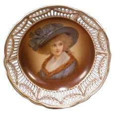 Antique German Porcelain Dresden Portrait Lattice Bowl Plaque Swags Candy Dish