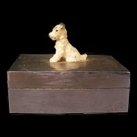 20s Art Deco Scotty Dog Figure Cut Polished Aluminum Dresser Jewelry Trinket Box