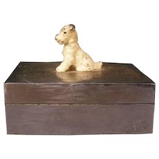 20s Art Deco Scotty Dog Figure Cut Polished Aluminum Dresser Jewelry Trinket Box