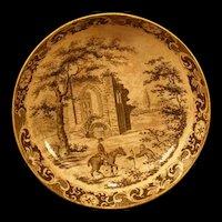 1800's Pearl Ware Cream Transfer Staffordshire Ironstone Cup Plate Horse Figure