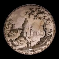 1800's Pearl Ware Cream Transfer Staffordshire Chinoiserie Indian Tree Cup Plate
