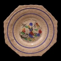 1830 Transfer Cream Pearl Ware Hand Decorated Staffordshire Polychrome Child Plate