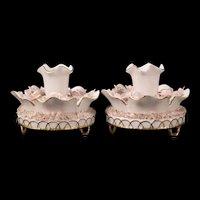 Pr RARE Vintage Schierholz German Porcelain Candle Holders Relief Flower Pink