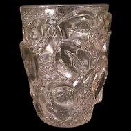 20s Art Deco French Crystal Flower Bud High Relief Leaf Pattern Glass Leaf Vase