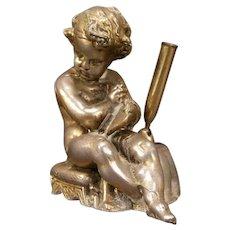 Antique Nouveau Cherub Figure Statue Sculpture Desk Pen Stand Paperweight Holder