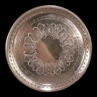 1800's Victorian Hallmarked Silver Plate Aesthetic Movement Chase Relief Tray Platter Charger