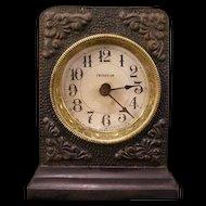 Antique IRONCLAD Westclox Cast Iron Case La Salle USA Mantel Alarm Clock
