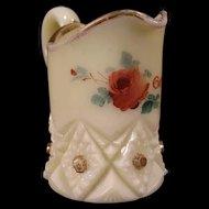 Antique 1863 Gettysburg Custard Hand Painted Glass Souvenir Diamond Peg Pitcher~