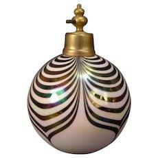 Vintage Iridescent Opalescent Perfume Atomizer Peacock Art Glass Vanity Table Dresser Bottle