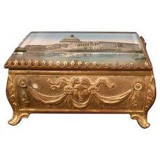 Antique Washington Eglomise Painting Glass Souvenir Trinket Dresser Jewelry Box