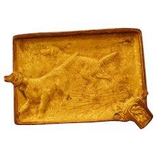 Vintage Irish SETTER Virginia Metalcrafters Bronze Dog Plaque Ash Tray Sculpture