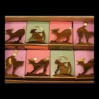 Vintage Flavorette Place Card Holders Match Safe Cigarette Box Black Cat Monkey Figure