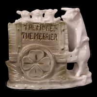 1800's Anthropomorphic Pink Pig German Porcelain Figure Fairing 3 Piglets in Cart