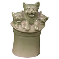 Early 1900's Cat Kitten Hat Fairing Figure Match Safe Toothpick Holder C D KENNY Premium